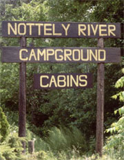 Sign is located beside entrance to Nottely River Campground.